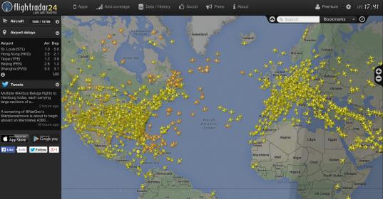 Flightradar, aplicación web que muestra información en tiempo real sobre el tráfico aéreo en directo alrededor del mundo.